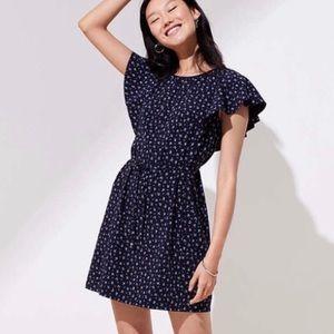 Brand New Navy LOFT Flutter Sleeve Tie Waist Dress